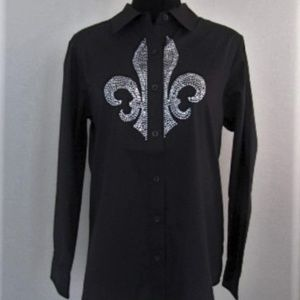 Quacker Factory Small Fleur de Lis Rhinestone Top